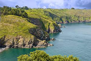 Обои Франция Берег Залив Скала Мох Plouezec Brittany Природа