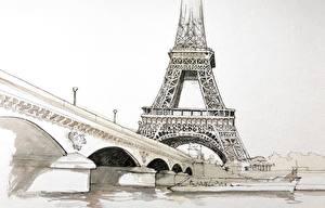 Фотография Франция Рисованные Живопись Эйфелева башня Париже Pont d'Iéna Города