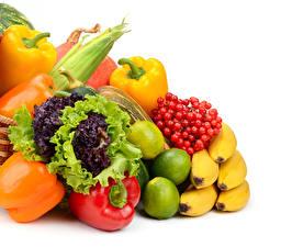 Картинка Фрукты Овощи Перец овощной Бананы Лайм Смородина Белый фон Еда