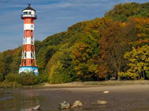 Фото Германия Гамбург Осень Берег Маяки Камень Деревья Blankenese Природа