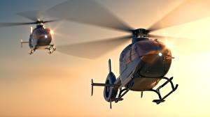 Обои Вертолет Вдвоем Eurocopter EC 135 Авиация
