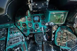 Картинки Вертолет Кабина пилота Русские Mi-24 B Авиация