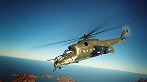 Обои Вертолеты War Thunder Летящий Российские Mil Mi-24 D 3D_Графика