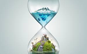 Фотографии Песочные часы Оригинальные 3D Графика