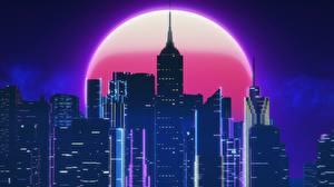 Фотография Здания Небоскребы Ретровейв Луна Ночные By SynthEx Города