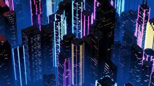 Обои Здания Небоскребы Ретровейв Ночные By SynthEx Города
