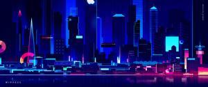 Фотографии Здания Небоскребы Ретровейв Ночные by Romain Trystram, Mirages Города