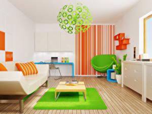 Картинка Интерьер Детская комната Дизайн Диван Кресло Люстры 3D Графика