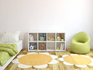 Обои Интерьер Детская комната Игрушка Дизайн Кресло 3D Графика