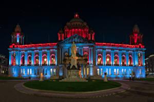 Фотография Ирландия Здания Памятники Ночные Belfast City Hall Города