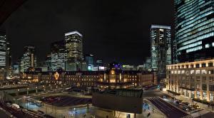 Фотография Япония Токио Дома Улица Ночь город