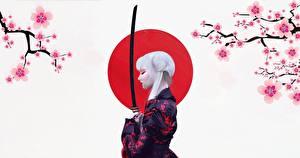 Картинка Катана Японская С саблей Кимоно Блондинка by Abrar Khan девушка
