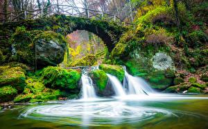Картинка Люксембург Реки Водопады Мост Камень Осенние Мох Mullerthal Region Природа