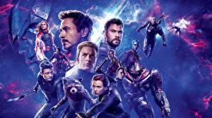 Обои для рабочего стола Мужчины Скарлетт Йоханссон Robert Downey Jr Крис Эванс Chris Hemsworth Avengers: Endgame кино Знаменитости