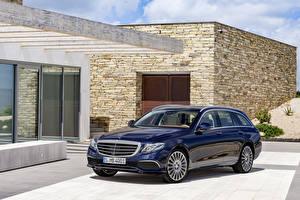 Картинка Mercedes-Benz Синяя Металлик 2016 E 200 d Exclusive Line Estate Автомобили