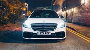 Картинка Mercedes-Benz Спереди Белая AMG S 63 4MATIC 2017 автомобиль