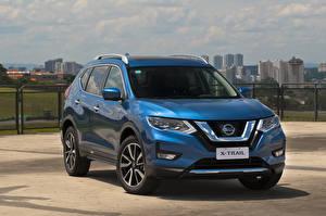 Обои Nissan Голубая Гибридный автомобиль 2019 X-Trail Hybrid Latam Автомобили