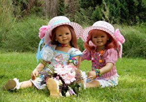 Фотография Парки Букеты Кукла Двое Девочки Шляпе Grugapark Essen