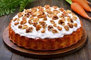Фото Пирог Вблизи Орехи Сахарная глазурь Продукты питания