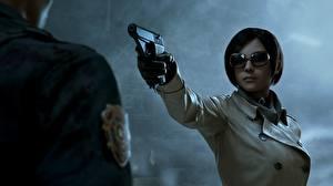 Фотография Пистолеты Ada Wong Resident Evil 2 2019 Очки Брюнетка 3D_Графика