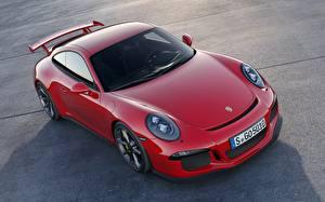 Фотографии Порше Красные Купе 911 GT3 машины