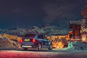 Обои Rolls-Royce Синий Сзади 2018-19 Cullinan Автомобили картинки