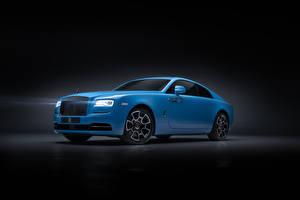 Обои Rolls-Royce Серый фон Голубой 2019 Wraith Black Badge Автомобили картинки