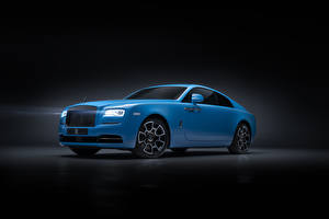 Обои Роллс ройс Сером фоне Голубой 2019 Wraith Black Badge автомобиль