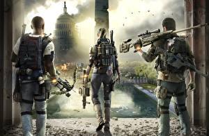 Фото Снайперская винтовка Солдаты Tom Clancy Сзади Снайперы The Division 2