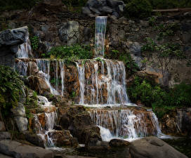 Фото Испания Водопады Камень Утес Las Palmas Gran Canaria Природа