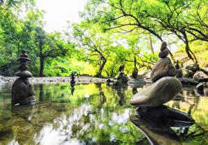 Картинка Весенние Парки Камень Пруд Скульптуры Природа