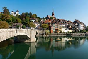 Картинки Швейцария Здания Озеро Мосты Laufenburg Города