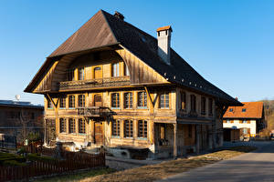 Обои Швейцария Дома Деревянный Zollbruck Города картинки
