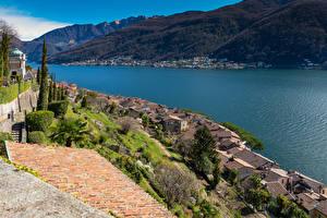 Фотографии Швейцария Озеро Здания Крыше Morcote Lake Lugano Города