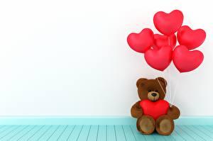 Фото Мишки День всех влюблённых Сердечко Воздушный шарик 3D Графика