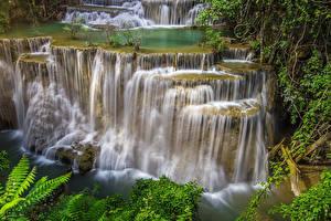Обои Таиланд Тропики Парки Водопады Утес Природа