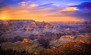 Картинка США Гранд-Каньон парк Парк Рассветы и закаты Каньон Природа