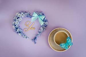 Обои День святого Валентина Бабочка Сердце Бантик Чашке