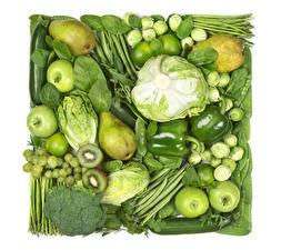 Картинка Овощи Фрукты Капуста Яблоки Груши Киви Виноград Перец Зеленый Пища