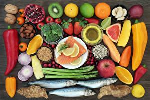 Картинки Овощи Фрукты Рыба Перец Цитрусовые Орехи