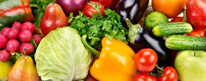 Картинка Овощи Перец Капуста Редис Огурцы Баклажан Груши Помидоры Еда