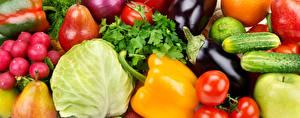 Картинка Овощи Перец овощной Капуста Редис Огурцы Баклажан Груши Помидоры