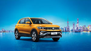 Обои Volkswagen Желтая 2019 T-Cross 280 TSI машины