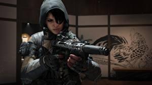Картинка Воины Автоматом Call of Duty Капюшоном Black Ops 4 Dead Of The Night Игры Девушки