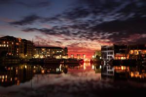 Обои Австралия Река Причалы Ночь Glenelg Adelaide город