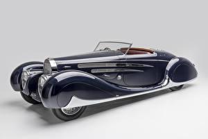 Фотографии BUGATTI Винтаж Сером фоне Кабриолета Синих 1939 Type 57C Cabriolet by Vanvooren Автомобили
