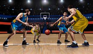Фотографии Баскетбол Мужчины Униформа Мяч