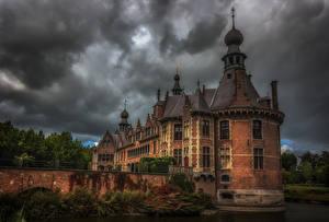 Фотографии Бельгия Замок Пруд Мосты HDRI Ooidonk Castle город