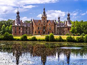 Фотографии Бельгия Гент Замки Пруд Kasteel van Ooidonk город