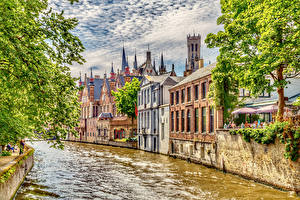 Обои Бельгия Дома Брюгге Водный канал Города